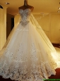Popular Beaded Bodice and Applique Wedding Dress with Chapel Train