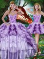 Multi-color Ball Gowns Sweetheart Sleeveless Organza Floor Length Lace Up Beading and Ruffles and Ruffled Layers 15 Quinceanera Dress