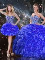 Charming Blue Ball Gowns Sweetheart Sleeveless Organza Floor Length Lace Up Beading and Ruffles Quinceanera Dress