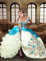 Dynamic Sleeveless Floor Length Embroidery and Ruffled Layers Lace Up Quinceanera Dress with Multi-color