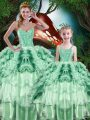 Multi-color Ball Gowns Beading and Ruffles and Ruffled Layers Quinceanera Gowns Lace Up Organza Sleeveless Floor Length