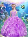 Exquisite Beading and Ruffles Kids Pageant Dress Lilac Lace Up Sleeveless Floor Length