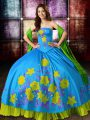 Nice Ball Gowns Sweet 16 Quinceanera Dress Multi-color Strapless Satin Sleeveless Floor Length Lace Up