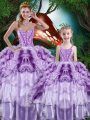 Beauteous Multi-color Sleeveless Organza Lace Up Quinceanera Gown for Military Ball and Sweet 16 and Quinceanera