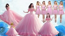 Inexpensive Baby Pink Tulle Lace Up Quinceanera Gown Sleeveless Floor Length Ruffles