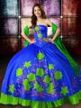 Comfortable Multi-color Satin Lace Up Vestidos de Quinceanera Sleeveless Floor Length Embroidery