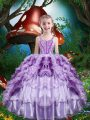 Beautiful Straps Sleeveless Organza Little Girls Pageant Dress Wholesale Beading and Ruffles and Ruffled Layers Lace Up