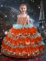 High Quality Floor Length Multi-color Girls Pageant Dresses Organza Sleeveless Beading and Ruffled Layers