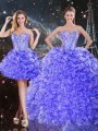Best Selling Sleeveless Floor Length Beading and Ruffles Lace Up Sweet 16 Dresses with Purple