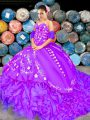 Dazzling Organza Sleeveless Quinceanera Gowns Brush Train and Embroidery and Ruffles