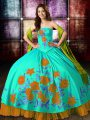Ball Gowns Quinceanera Dresses Multi-color Strapless Satin Sleeveless Floor Length Lace Up