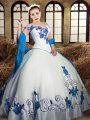 Charming White Taffeta Lace Up Quinceanera Dress Sleeveless Floor Length Embroidery