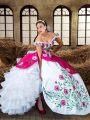 Glittering Off The Shoulder Sleeveless Quinceanera Dresses Floor Length Embroidery and Ruffled Layers Multi-color Chiffon
