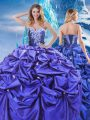 Fabulous Purple Sleeveless Beading and Pick Ups Floor Length Quinceanera Dress