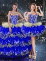 Discount Multi-color Sleeveless Floor Length Beading and Ruffles and Ruffled Layers Lace Up Quinceanera Dresses