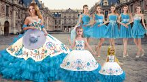 Sleeveless Lace Up Floor Length Embroidery and Ruffled Layers Quinceanera Dresses