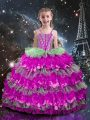 Beading and Ruffled Layers Girls Pageant Dresses Multi-color Lace Up Sleeveless Floor Length