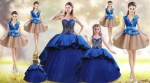 Blue 15th Birthday Dress Taffeta Court Train Sleeveless Beading and Appliques and Embroidery