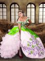 Super Multi-color Lace Up Sweet 16 Dress Embroidery and Ruffled Layers Sleeveless Floor Length