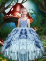 Admirable Beading and Ruffles and Ruffled Layers Pageant Dress for Teens Baby Blue Lace Up Sleeveless Floor Length