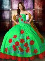 Sexy Multi-color Sleeveless Embroidery Floor Length Sweet 16 Quinceanera Dress