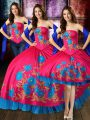 Floor Length Three Pieces Sleeveless Hot Pink 15th Birthday Dress Lace Up