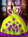 Wonderful Embroidery Quinceanera Dresses Yellow Green Lace Up Sleeveless Floor Length