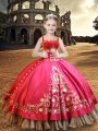 Sleeveless Lace Up Floor Length Embroidery Little Girl Pageant Gowns