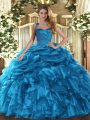 Perfect Baby Blue Ball Gowns Ruffles and Pick Ups Sweet 16 Quinceanera Dress Lace Up Organza Sleeveless Floor Length