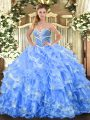 Luxurious Baby Blue Ball Gowns Organza Sweetheart Sleeveless Beading and Ruffled Layers Floor Length Lace Up Quinceanera Gowns