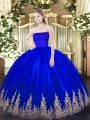 Free and Easy Blue Zipper Sweet 16 Quinceanera Dress Appliques Sleeveless Floor Length