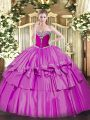 Great Lilac Ball Gowns Organza and Taffeta Sweetheart Sleeveless Beading and Ruffled Layers Floor Length Lace Up Sweet 16 Quinceanera Dress