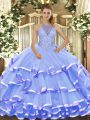 Blue Sleeveless Organza Lace Up 15th Birthday Dress for Military Ball and Sweet 16 and Quinceanera