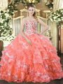 Unique Organza Sleeveless Floor Length Sweet 16 Quinceanera Dress and Beading and Ruffled Layers