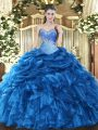Blue Sleeveless Floor Length Beading and Ruffles and Pick Ups Lace Up Sweet 16 Dresses