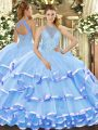 Sleeveless Lace Up Floor Length Beading and Ruffled Layers Sweet 16 Dresses