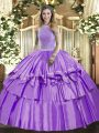 Floor Length Lavender Quinceanera Dress High-neck Sleeveless Lace Up