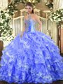 Top Selling Blue Lace Up Sweetheart Beading and Ruffled Layers Quince Ball Gowns Organza Sleeveless