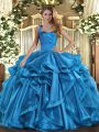 Baby Blue Sleeveless Organza Lace Up Ball Gown Prom Dress for Military Ball and Sweet 16 and Quinceanera