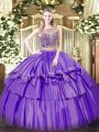 Nice Scoop Sleeveless Organza and Taffeta Sweet 16 Dress Beading and Ruffled Layers Lace Up