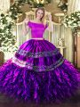 Graceful Eggplant Purple Zipper Off The Shoulder Embroidery and Ruffles Quinceanera Dress Organza and Taffeta Short Sleeves