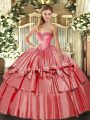 Fitting Ball Gowns 15th Birthday Dress Coral Red Sweetheart Organza and Taffeta Sleeveless Floor Length Lace Up