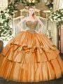 Unique Orange Ball Gowns Beading and Ruffled Layers Ball Gown Prom Dress Lace Up Organza Sleeveless Floor Length