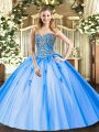 Stylish Sleeveless Beading and Appliques Lace Up Vestidos de Quinceanera