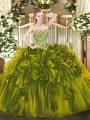 Excellent Olive Green Sleeveless Organza Lace Up 15 Quinceanera Dress for Military Ball and Sweet 16 and Quinceanera