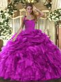 Modern Sleeveless Floor Length Ruffles and Pick Ups Lace Up Quinceanera Dresses with Fuchsia