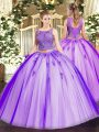Captivating Sleeveless Floor Length Beading and Appliques Lace Up Quince Ball Gowns with Lavender