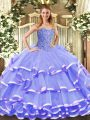 Fitting Sweetheart Sleeveless Quinceanera Dresses Floor Length Beading and Ruffled Layers Lavender Organza