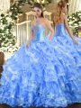Baby Blue Organza Lace Up Quinceanera Gown Sleeveless Floor Length Beading and Ruffled Layers