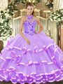Lavender Sleeveless Organza Lace Up 15th Birthday Dress for Military Ball and Sweet 16 and Quinceanera